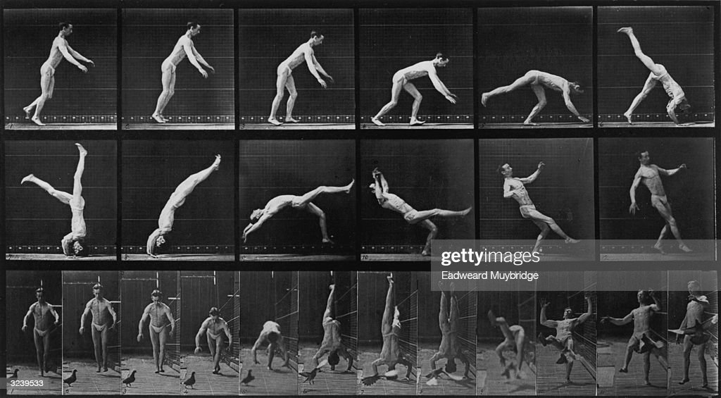 'Head-Spring,' a side view and front view stop-action series of photographs of a man performing a headspring, by <a gi-track='captionPersonalityLinkClicked' href=/galleries/search?phrase=Eadweard+Muybridge&family=editorial&specificpeople=79613 ng-click='$event.stopPropagation()'>Eadweard Muybridge</a>. Original Publication: From 'Animal Locomotion'.