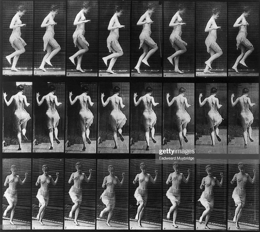 Twenty-four full-length images of a half-nude woman hopping on her left foot in front of a grid backdrop, viewed from three different perspectives. Photographs by Eadweard Muybridge. Original Publication: From 'Animal Locomotion' - pub. 1887.