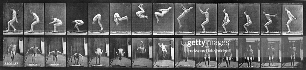 A photo-montage, by photographic pioneer Edweard Muybridge, of a man performing acrobatics. Original Publication: From 'Animal Locomotion' - pub. 1887.