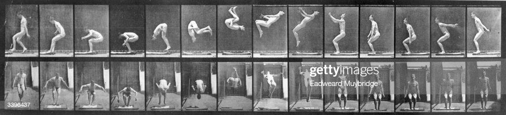 A photomontage by photographic pioneer Edweard Muybridge of a man performing acrobatics Original Publication From 'Animal Locomotion' pub 1887