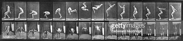 A photomontage by photographic pioneer Edweard Muybridge of a man performing acrobatics Original Publication From 'Animal Locomotion' pub 1887