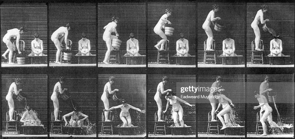 A series of experimental pictures demonstrating Eadweard Muybridge's theory of human locomotion.