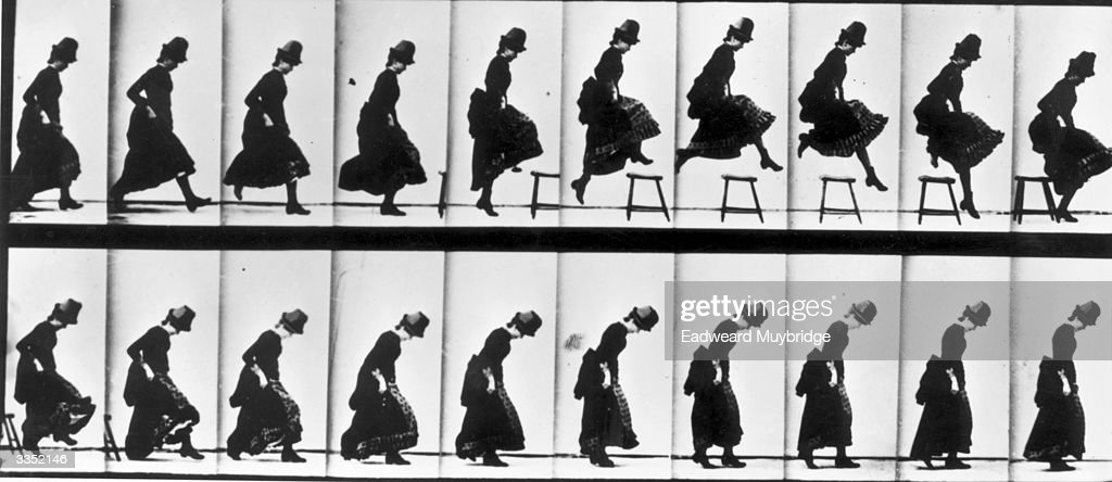 A series of pictures taken by photographer Eadweard Muybridge as a study of movement. He used twenty-four cameras to capture a single sequence of events - a woman leaping over a stool.