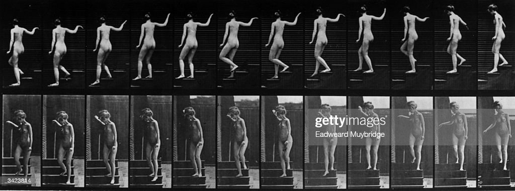 A series of pictures taken by the Anglo-American photographer Eadweard Muybridge (1830 - 1904) as a study of movement. He used twenty-four cameras to capture a single sequence of events - a woman descending a flight of steps. Original Publication: From 'Animal Locomotion' - pub. 1887.