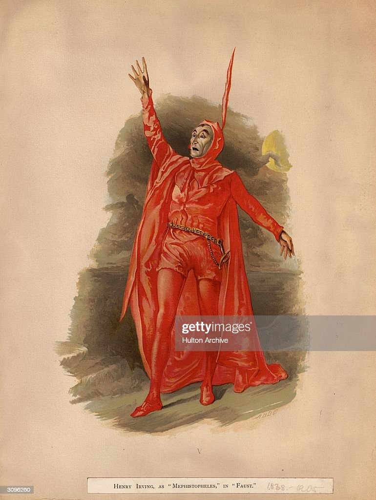Sir Henry Irving dressed in a red devil's costume as Mephistopheles in Faust Original Artist Abbe
