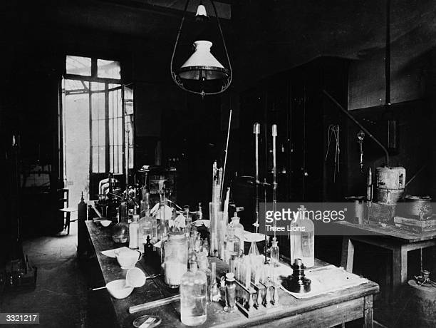 The laboratory at the Ecole Normale where French chemist Dr Louis Pasteur the father of modern bacteriology pursued his studies that led to his great...