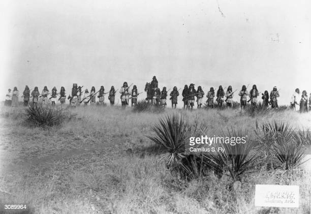 Geronimo with his band of Chiricahua Apache warriors in the Sierra Madre mountains
