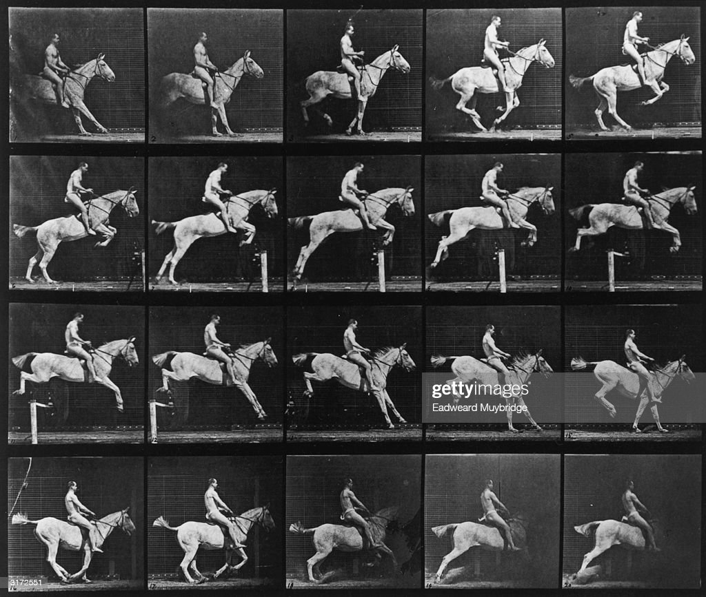 Sequence of stop-action images of a man wearing a loincloth, jumping over a hurdle on horseback. Titled 'Pandora Jumping a Hurdle, Saddled, Rider Nude.' Original Publication: From 'Animal Locomotion', volume 9 - pub. 1887.