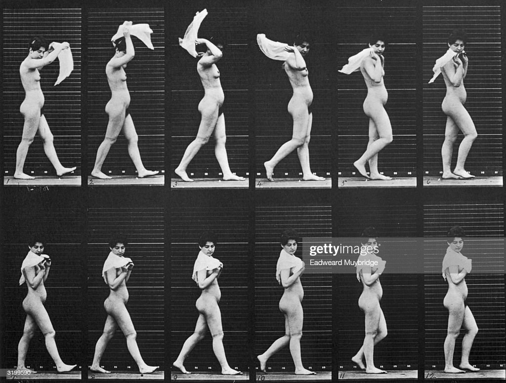 Sequence of stop-action images of a nude woman throwing a scarf over her shoulders while walking. Titled 'Woman Walking, Throwing Scarf over Shoulders'. Original Publication: From 'Animal Locomotion' - pub. 1887.
