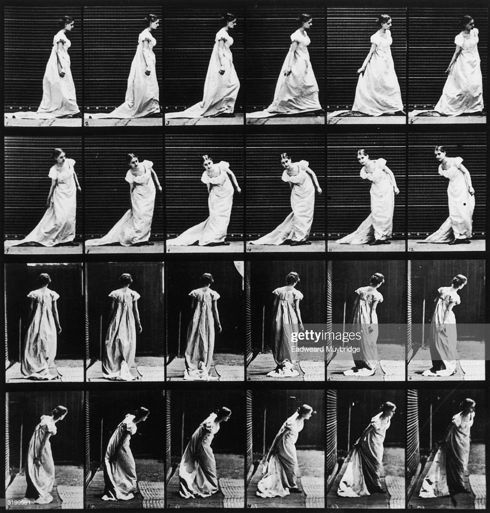 Sequence of stop-action images of a woman bending to adjust the train of her dress, taken from four different perspectives. Titled 'Stooping to Arrange Train and Turning.' Original Publication: From 'Animal Locomotion' - pub. 1887.