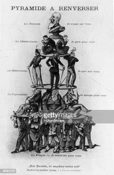 A cartoon showing groups of people bearing others on their shoulders ending with one man at the top the words accompanying the layers are Royalty I...