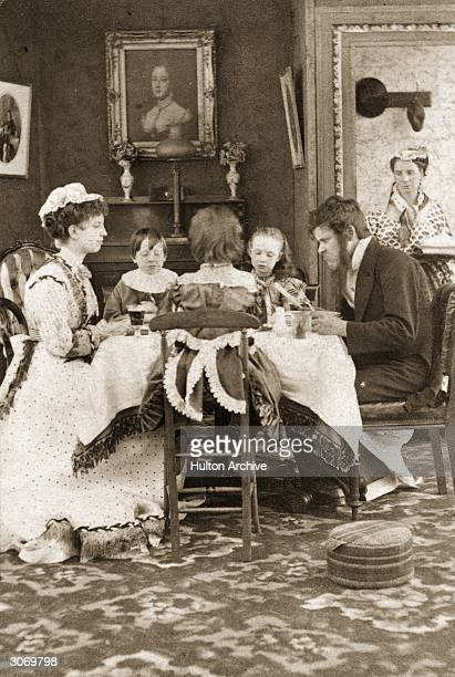 A family at the dining table Caption reads'For what we are about to receive make us truly thankful Cold mutton again'