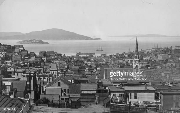 A view over San Francisco California of Alcatraz Island in San Francisco Bay
