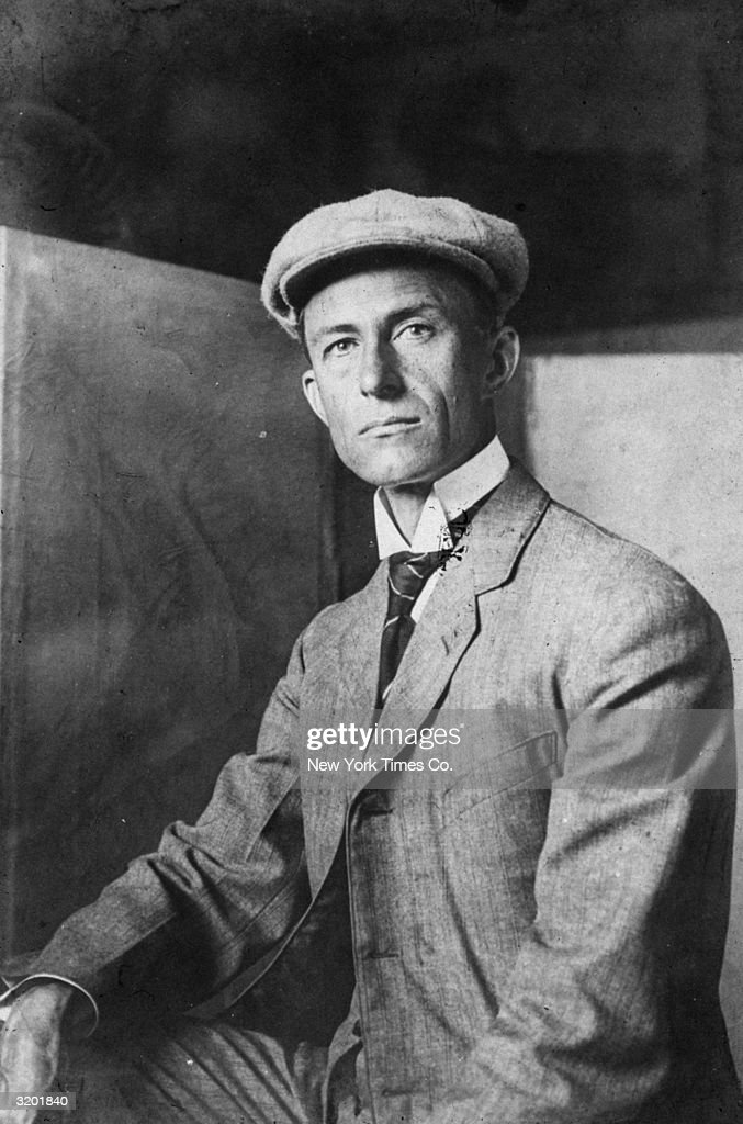Headshot of American aviation pioneer Wilbur Wright (1867 - 1912) who, with his brother Orville, made the first successful flight in a motor-powered airplane at Kitty Hawk, North Carolina. The plane flew 120 feet in 12 seconds.