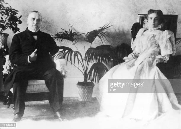 Portrait of the twentyfifth American president William McKinley and his wife Ida Saxton McKinley sitting in armchairs