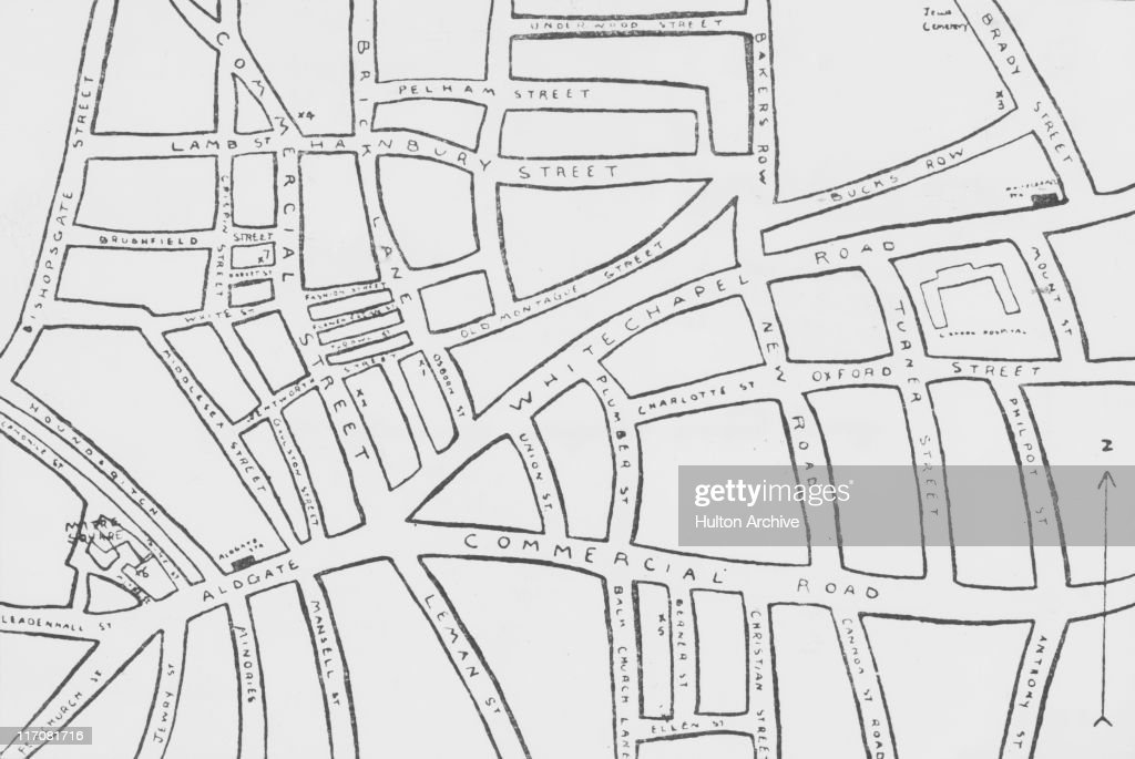 A map of Whitechapel in east London where eleven women were killed between 1888 and 1891 and the murders often attributed to unidentified serial...