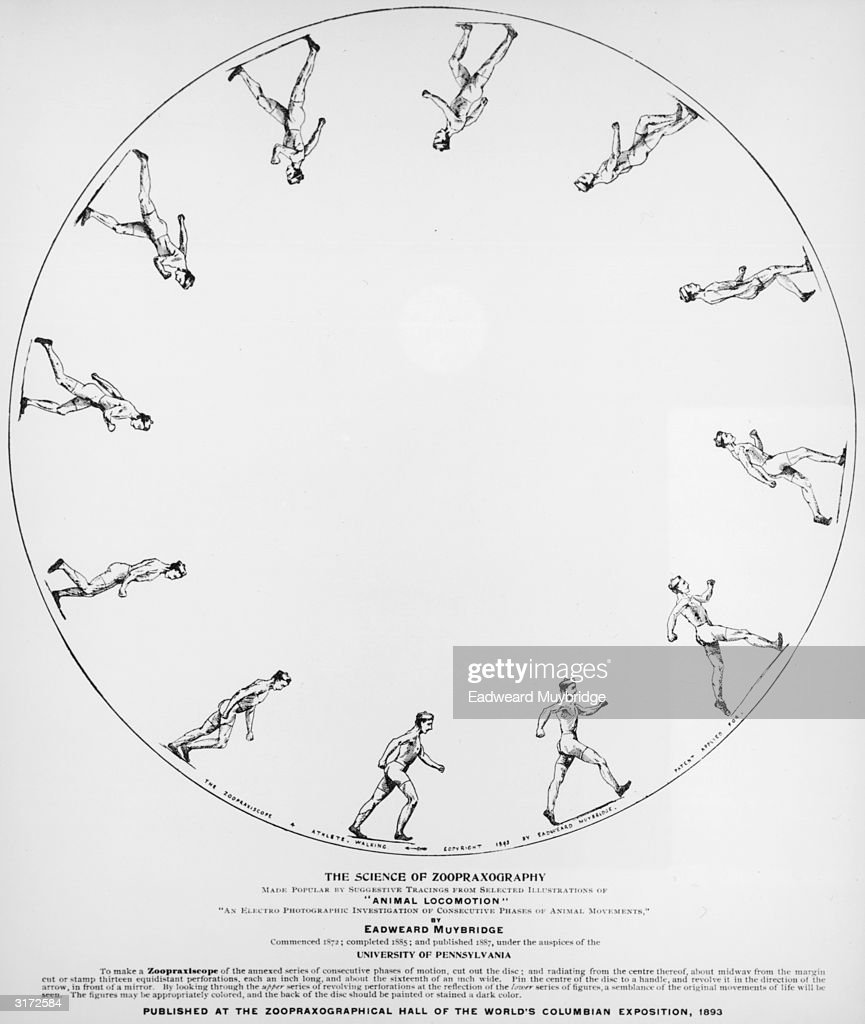 'The Science of the Zoopraxography'. Twelve sketches of a man walking drawn within a circle in order to demonstrate movement at various stages. Based on 'Animal Locomotion,' an 'electro-photographic investigation of consecutive phases of animal movements'.