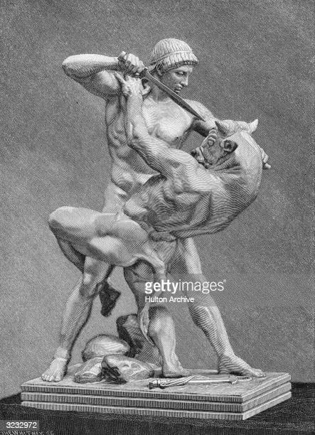 Theseus who in Greek mythology was the son of Aegeus King of Athens He is depicted here battling with the Minotaur as described in Ovid's...