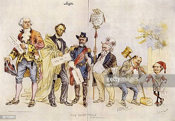 A satirical cartoon showing the sliding scale of worth of American politicians the founder of the republic George Washington Abraham Lincoln depicted...