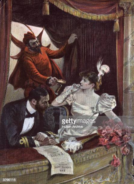 An actor playing the part of Mephistopheles appears in the audience collecting money for himself during his own benefit performance a regular custom...