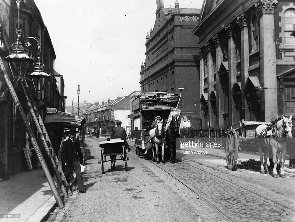 A horse drawn tram at Portsmouth prior to electrification in 1901.