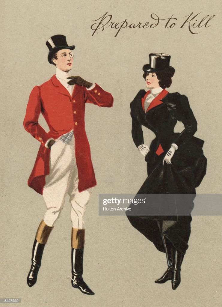 A man and woman dressed for a fox hunt.