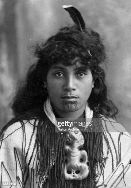 A Maori woman with a tattooed lip