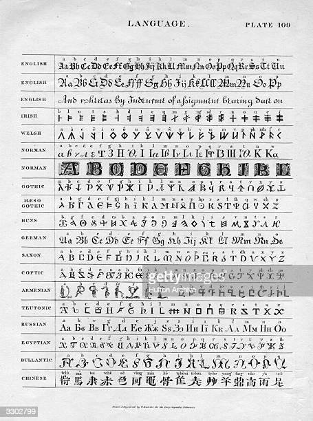 A plate showing a range of typefaces and alphabets used in a number of different languages