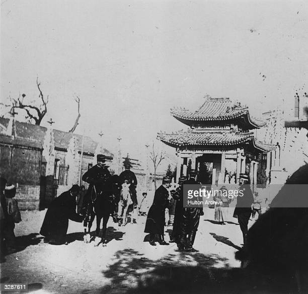 Commander Marchand Chief of Staff of the Frence Expeditionary Forces at the Roman Catholic Cathedral of PeiTang in Peking during the Boxer Rebellion