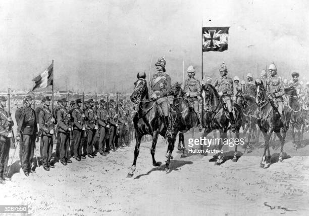 Field Marshal Waldersee inspects French troops at Shanghai during the Boxer Rebellion