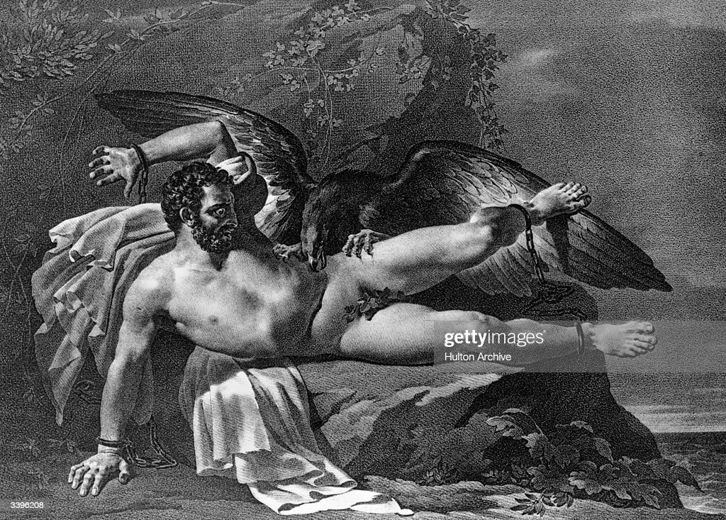 Greek mythological figure Prometheus chained to a rock in Caucasus where he is constantly preyed upon by an eagle The god Zeus ordered this...