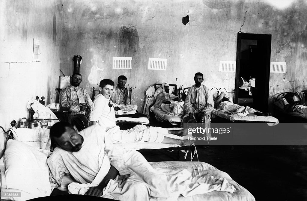 Hospital ward run by the German Red Cross Society at Jacobsdaal during the Boer War.