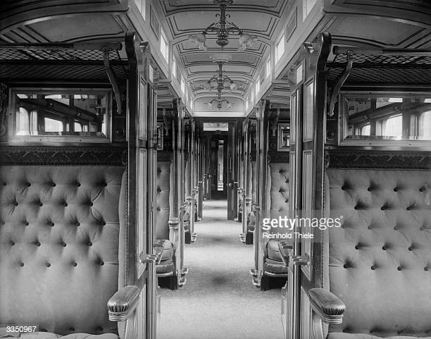 Interior of a Great Western Railway's buffet saloon car