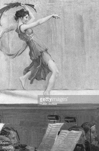 Isadora Duncan dancing on stage in Grecian dress Original Artist A F Gorguet