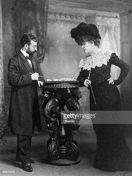 Legendary French actress Sarah Bernhardt playing draughts At the height of her powers Bernhardt was the most fmous actress in the World and was known...