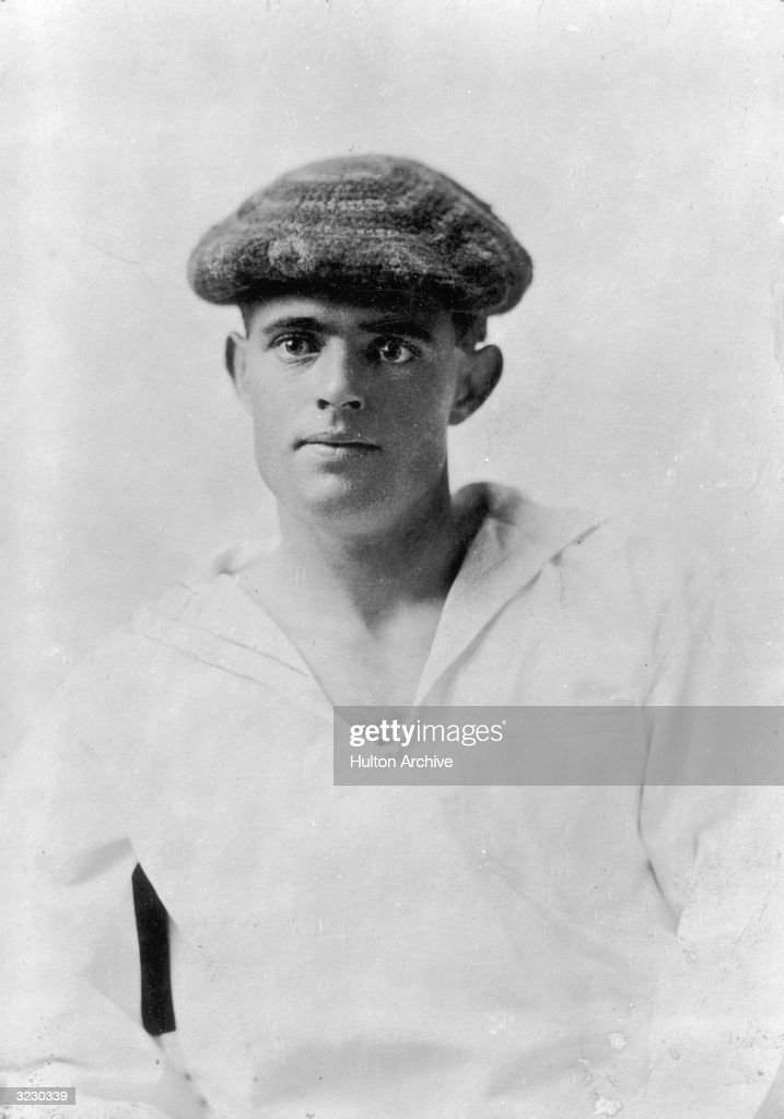 Studio portrait of American writer Jack London wearing a middy and a knit cap