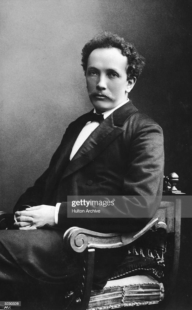 Studio portrait of German composer <a gi-track='captionPersonalityLinkClicked' href=/galleries/search?phrase=Richard+Strauss+-+Composer&family=editorial&specificpeople=239044 ng-click='$event.stopPropagation()'>Richard Strauss</a> (1864-1949) sitting in a chair.
