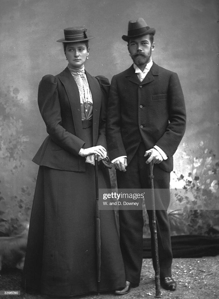 Tsar Nicholas II (1868 - 1918) with his wife.