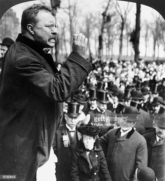 President Theodore Roosevelt speaks to a crowd during a Western tour Evanston Illinois