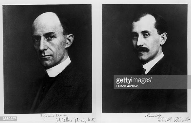 Left Wilbur Wright and right Orville Wright the two brothers who worked closely together in the early development of aeronutics inventing and flying...