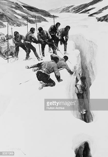 On the Scott expedition one man is rescued from a crevasse by a sledgerope