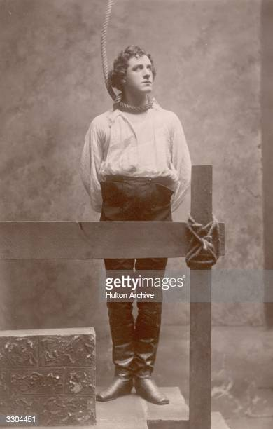 Actor Matheson Lang as Richard Dudgeon in a scene with the hangman's noose around his neck from the play 'The Devil's Disciple' by George Bernard Shaw
