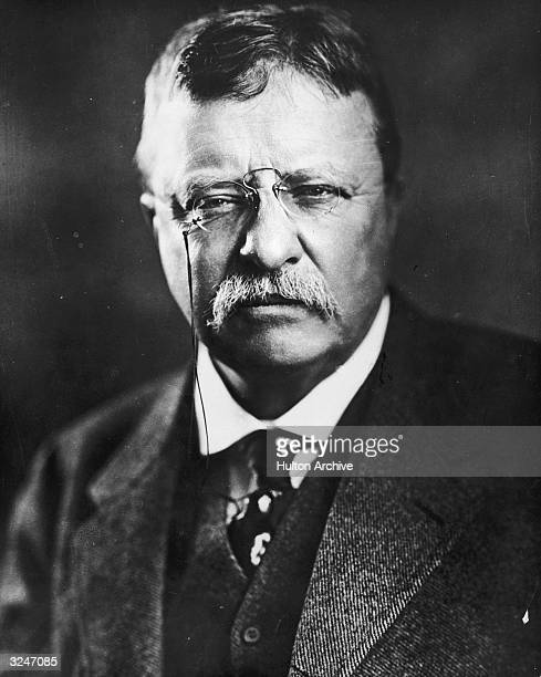 Headshot portrait of US president Theodore Roosevelt