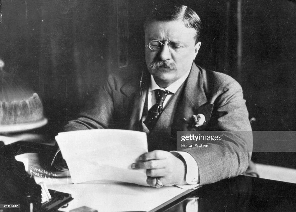 <a gi-track='captionPersonalityLinkClicked' href=/galleries/search?phrase=Theodore+Roosevelt+-+US+President&family=editorial&specificpeople=71238 ng-click='$event.stopPropagation()'>Theodore Roosevelt</a> (1858 - 1919),the 26th President of the United States (1901-09) sitting at his desk working.