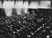The inaugural session of the AntiWar Conference in the Riddersaal at the Hague