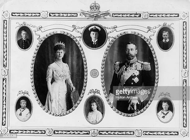 Centre left Queen Mary centre right King George V the British monarchs Top left George VI then Prince Albert top centre the Duke of Windsor Edward...