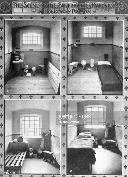 'The Scene of the Suffragettes' Martyrdom in Holloway Prison' showing prison cells
