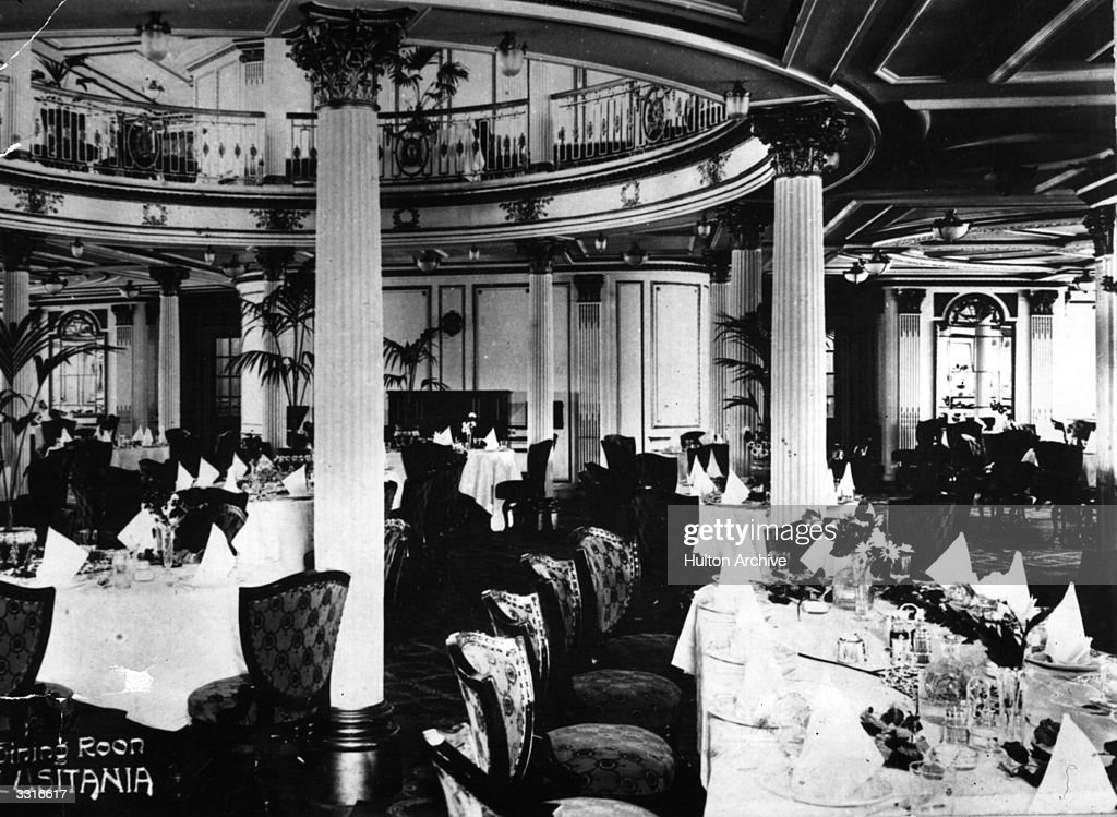 The dining room aboard the British SS 'Lusitania.'