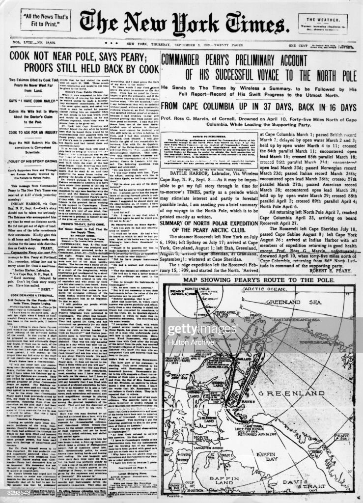 The New York Times front page exposes physician and explorer Frederick Cooks' fraudulent claims to have reached the North Pole ahead naval commander...