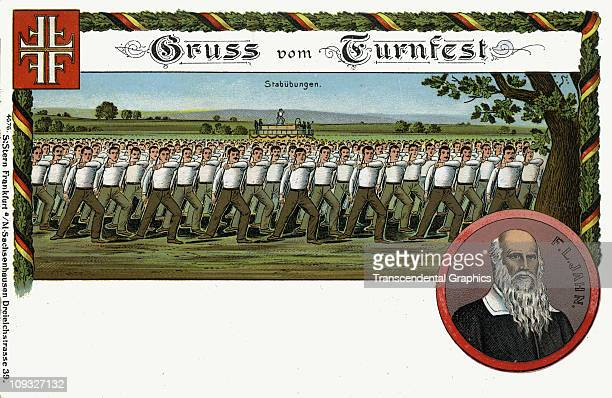 FRANKFURT GERMANY circa 1910 Advertising postcard for the Turn Verein organization and their Turnfest which involves group choreography from around...
